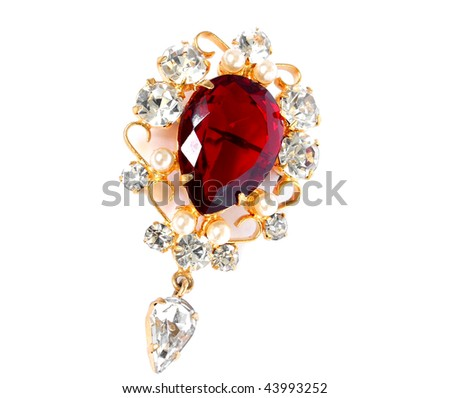 vintage brooch isolated on a white back - stock photo