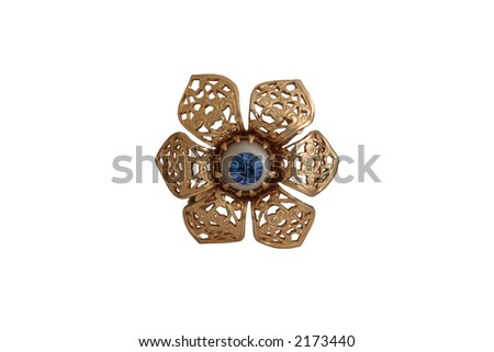 Vintage brooch with blue diamond - stock photo