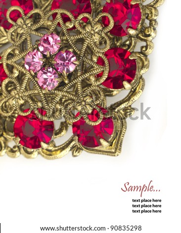 vintage brooch with place for the text - stock photo