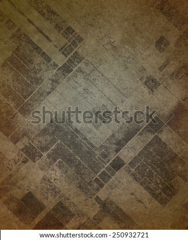 vintage brown background paper texture with rough ragged texture and blotchy faded diagonal blocks of gray or black, shabby distressed gray and brown color stains - stock photo