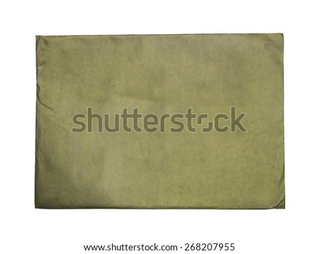 Vintage brown blank envelope paper, isolated on white background - stock photo