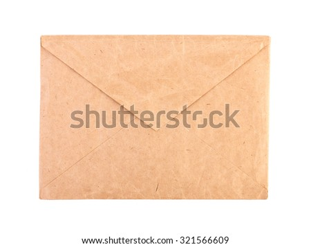 Vintage brown envelope isolated close-up. - stock photo