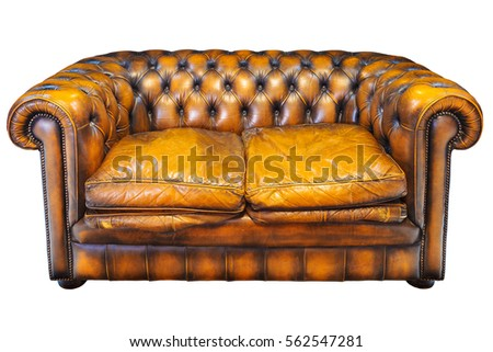 Vintage Brown Leather Chesterfield Sofa Isolated On A White Background