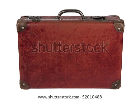 vintage brown leather suitcase - stock photo