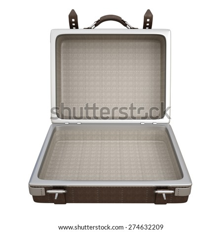 Vintage brown leather suitcase isolated on white background. High resolution 3d