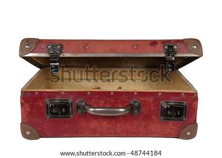 vintage brown leather suitcase open - stock photo