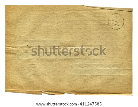 Vintage brown paper blank with torn edges isolated on white background. Old texture for design.