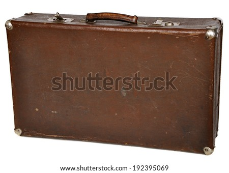 Vintage brown suitcase isolated on white background. a clipping path  - stock photo