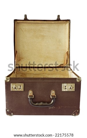 Vintage brown suitcase, open.  Clipping path included. - stock photo