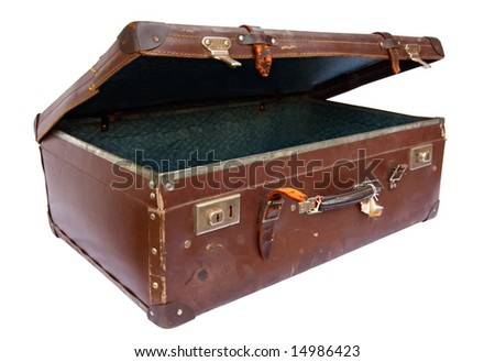 Vintage brown suitcase, partly open, isolated on white.  Clipping path included. - stock photo