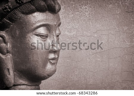 vintage Buddha statue, photo illustration, on distressed textured background
