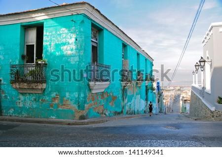 Vintage building in Santiago de Cuba, Cuba - stock photo