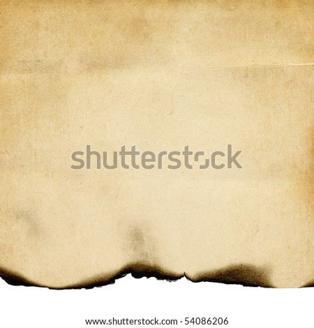 Vintage burned paper background, isolated on white. - stock photo