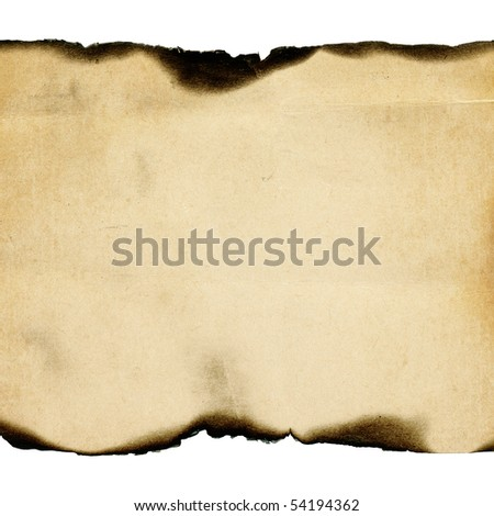 Vintage burned paper background, isolated on white, center composition. - stock photo