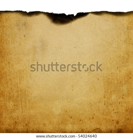 Vintage burned paper background with space for text - stock photo