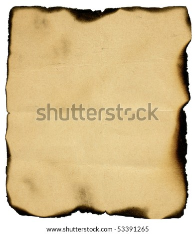 Vintage burned paper isolated on white background - stock photo