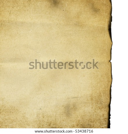 Vintage burned paper isolated on white background. - stock photo