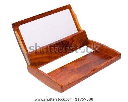 vintage business card holder with empty copy-space ready for your text - stock photo