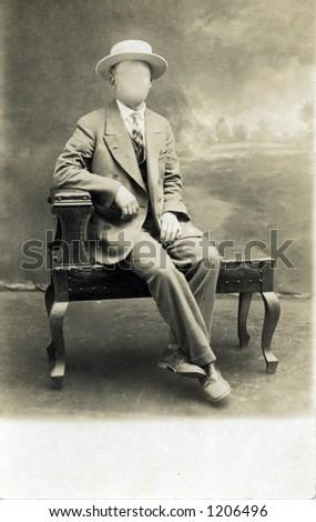 vintage business man - stock photo