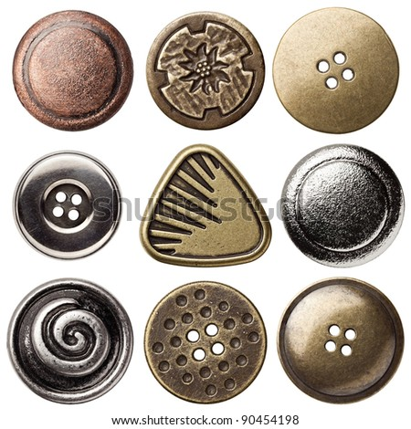 Vintage Button Icons - stock photo