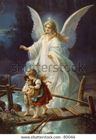 Vintage (c.1895) illustration of guardian angel protecting children. - stock photo