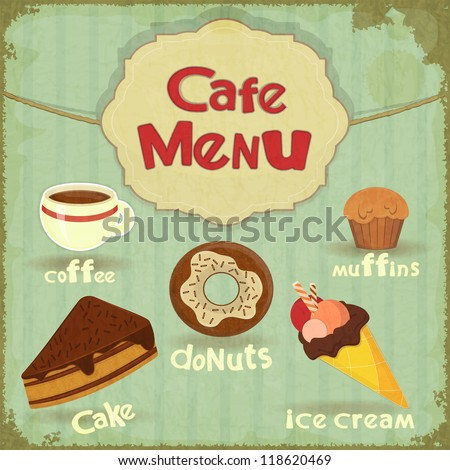Vintage Cafe Menu - pastry and coffee on retro background - JPEG version - stock photo