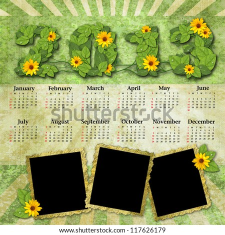 Vintage calendar 2013 with a template for photo edges - stock photo