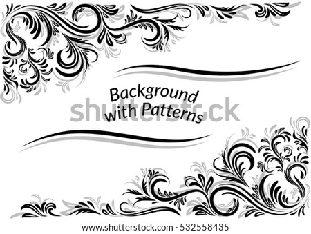 Vintage Calligraphic Ornament, Decorative Frame with Abstract Floral Pattern, Black Contours Isolated on White Background.