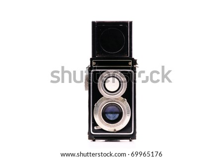 Vintage Camera Front Perspective - stock photo