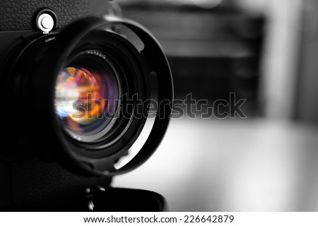 Vintage camera lens - stock photo