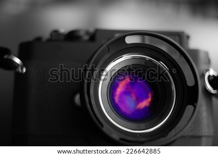 Vintage camera lens - stock photo