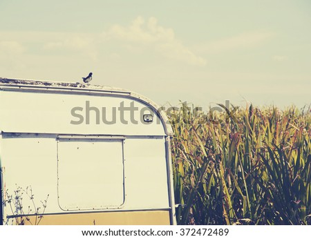 vintage camper van  - stock photo