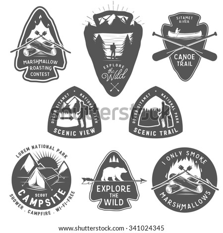 Vintage camping and hiking labels, badges, design elements  - stock photo