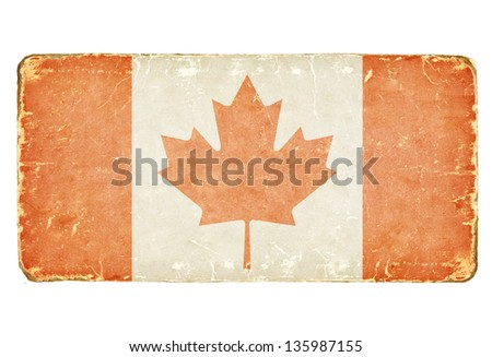 Vintage Canadian flag. - stock photo