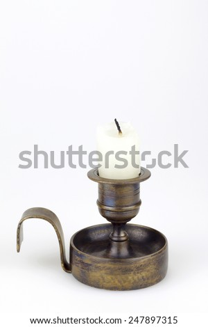 vintage candlestick isolated - stock photo