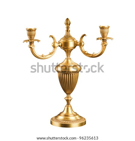 vintage Candlestick isolated on white - stock photo