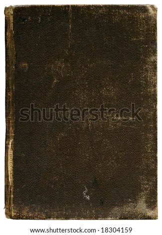 Vintage canvas book cover - circa 1890 - isolated on white - XL size - grainy surface - stock photo