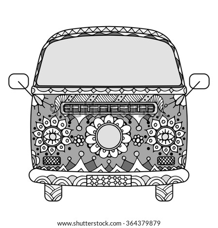 Vintage car a mini van in zentangle style. Hand drawn image. Monochrome Art illustration. The popular bus model in the environment of the followers of the hippie movement. - stock photo