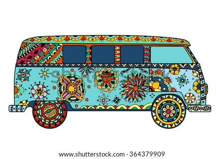 Vintage car a mini van in zentangle style. Hand drawn image. The popular bus model in the environment of the followers of the hippie movement. Art illustration.  - stock photo