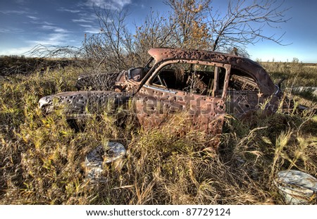 Vintage Car abandoned bullet holes target practice Saskatchewan - stock photo