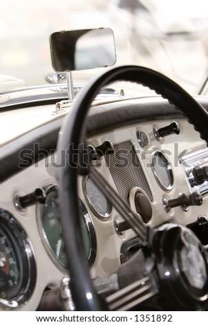 vintage car dash - stock photo