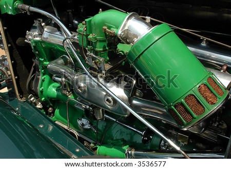 Vintage Car Engine - stock photo