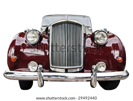 Vintage car front view isolated over white - stock photo