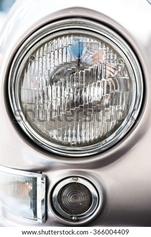Vintage car,head light close up - stock photo