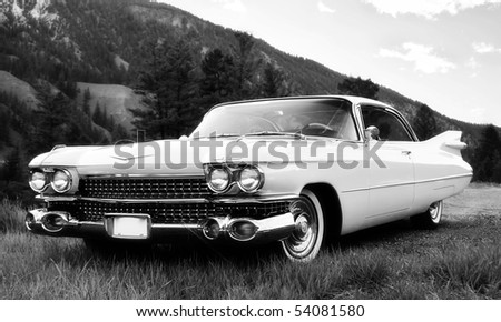 Vintage Car in black and white - stock photo