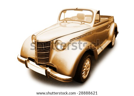 Vintage car in sepia color isolated on white background