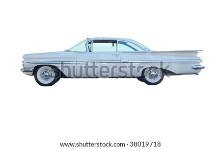 Vintage car isolated on a white background - stock photo