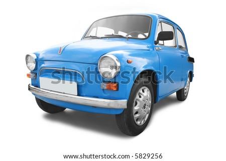 Vintage car isolated on white - stock photo