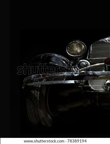 vintage car on a black background - stock photo
