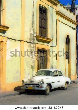 Vintage car on the street - stock photo